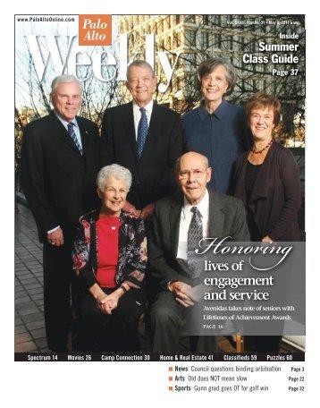 2011 Lifetimes of Achievement cover story (Palo Alto ... - Avenidas