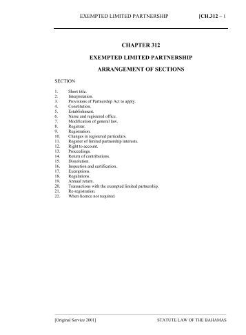 Exempted Limited Partnership Act - The Bahamas Laws On-Line