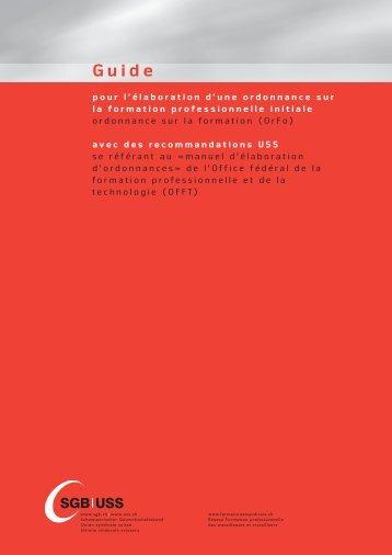 manuel d'élaboration d'ordonnances - Bildungsgewerkschaften