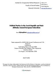Political Parties in the Czech Republic and their Attitudes toward ...