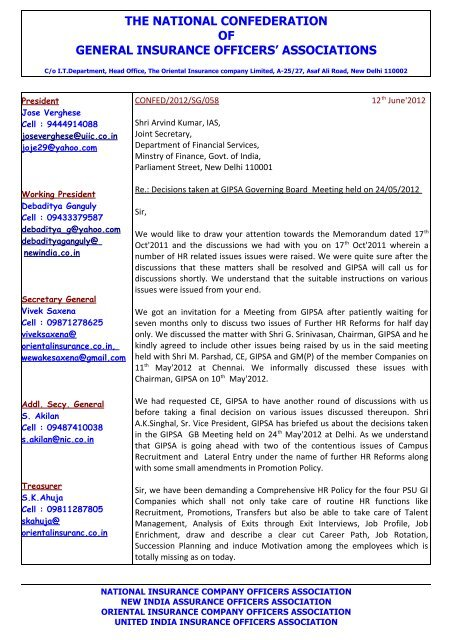 Letter To Ministry Confed Oicoa