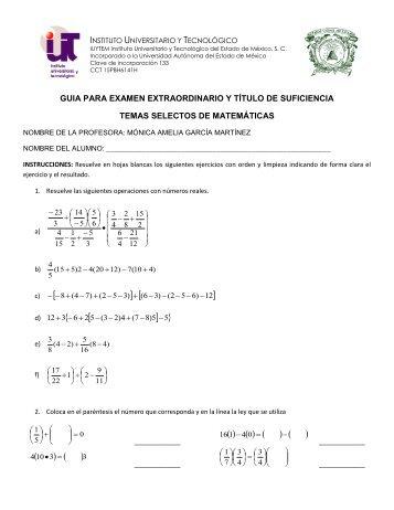 Temas Selectos de Matemáticas - Instituto Universitario y ...