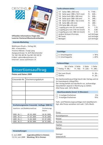 Insertionsauftrag - Luzerner Kantonal-Blasmusikverband