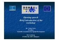 Opening speech -Brief introduction of the workshop - Donauregionen