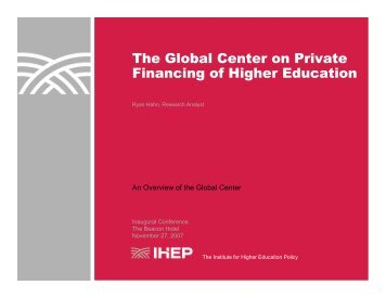 The Global Center on Private Financing of Higher Education