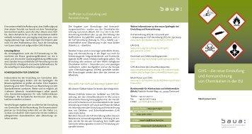 GHS - die neue Einstufung und Kennzeichnung von Chemikalien