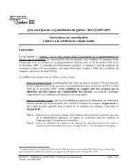 Instructions aux municipalités relatives à la reddition de comptes ...