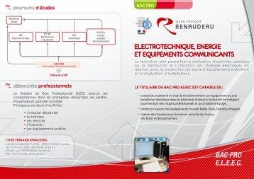 Plaquette de présentation Bac Pro Electrotechnique Energie et ...