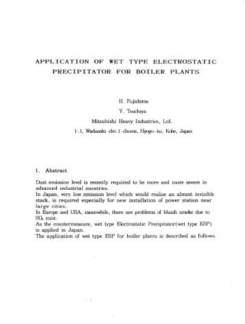 application of wet type electrostatic precipitator for boiler plants - isesp