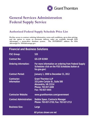 General Services Administration Federal Supply ... - Grant Thornton