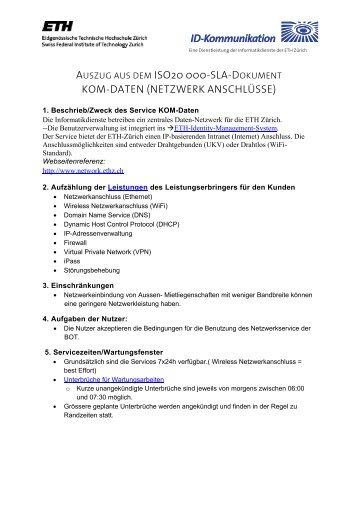 ISO20000-SLA-Dokument - ETH Zürich