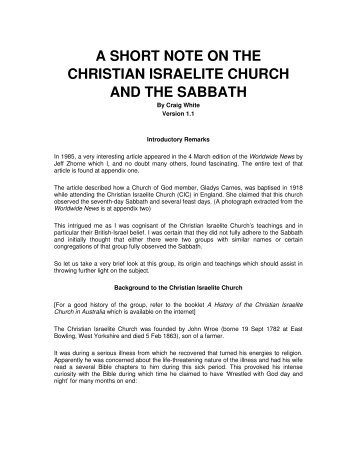 a short note on the christian israelite church and ... - Origin of Nations