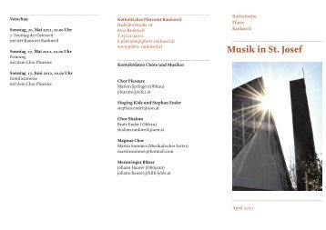 Folder Musik in St. Josef - Katholische Kirche Vorarlberg