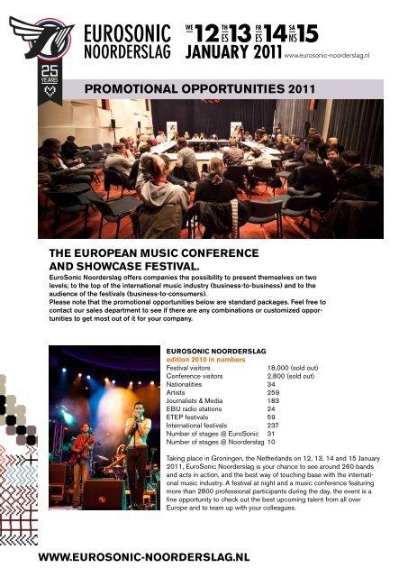 PROMOTIONAL OPPORTUNITIES 2011 - Buma Cultuur
