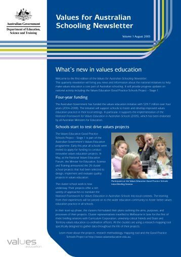 Values for Australian Schooling Newsletter Vol.1 - Values Education