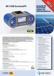 MI 3108 EurotestPV Messgerät für Photovoltaik- Anlagen ... - Metrel