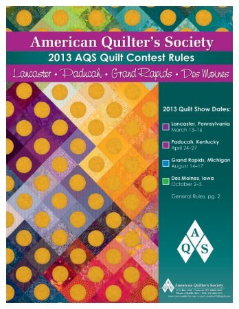 2013rules_booklet.indd 1 2/27/12 9:09 AM - AQS QuiltWeek ...