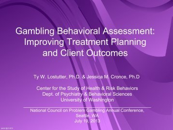 Gambling Behavioral Assessment - The National Council on ...