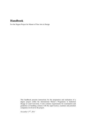 Handbook for the Degree Project for Master of Fine Arts in Design[1]