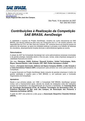 Contribuições a realização da Competição - UFSC Aerodesign