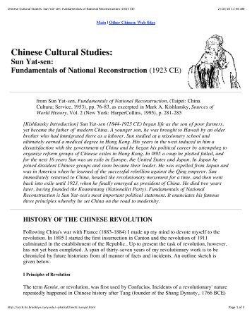 Sun Yat-sen, Fundamentals of National ... - rauschreading09