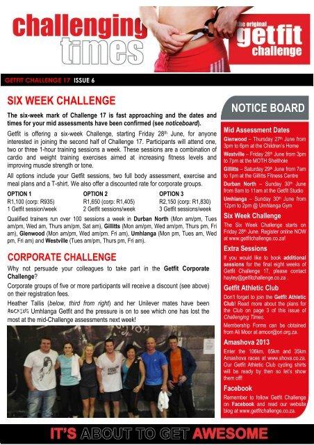 Newsletter - The Original GETFIT Challenge