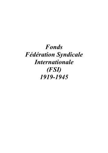 Fédération syndicale internationale - Institut d'Histoire Sociale CGT