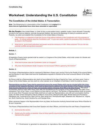 30 Understanding The Constitution Worksheet - Notutahituq ...