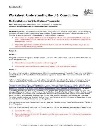 Worksheet: Understanding the US Constitution - EDSITEment