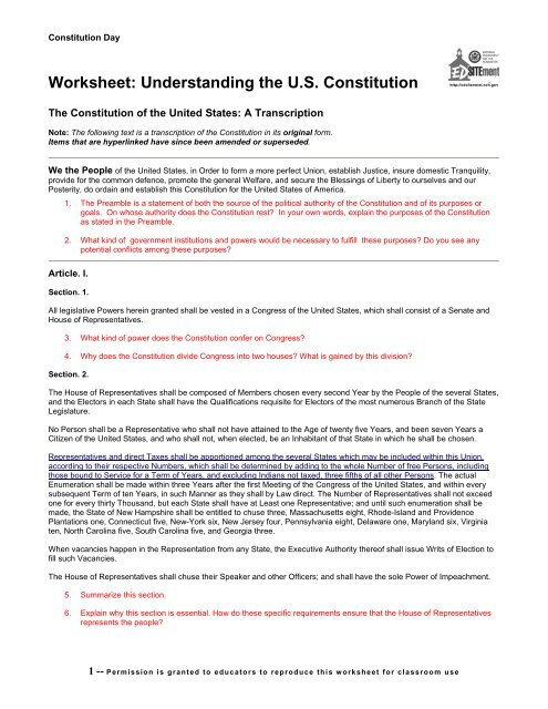 Worksheet Understanding The Us Constitution Edsitement