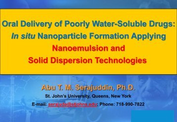 Oral Delivery of Poorly Water-Soluble Drugs: In situ Nanoparticle ...