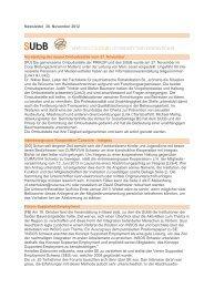 Newsletter 30. November 2012 Vorstellung der neuen ... - subb.ch