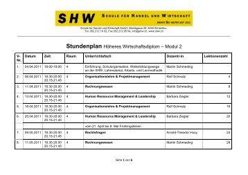 Stundenplan Höheres Wirtschaftsdiplom – Modul 2 - SHW