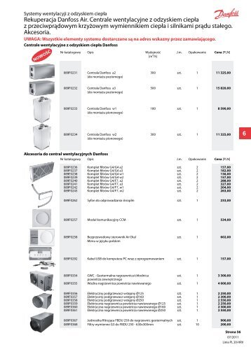 Rekuperacja Danfoss Air. Centrale wentylacyjne z odzyskiem ciepła ...
