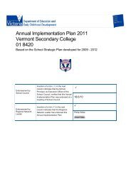 Annual Implementation Plan 2011 Vermont Secondary College 01 ...