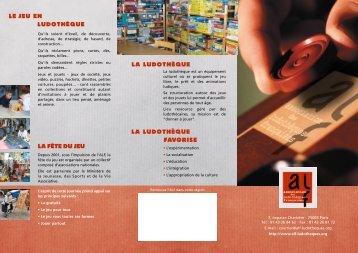 Téléchargez notre plaquette - ALF : Association des Ludothèques ...