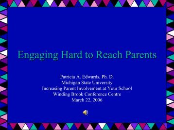Engaging Hard to Reach Parents - Reading Recovery Council of ...