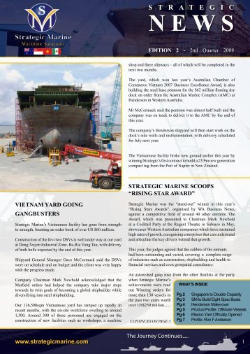 2nd Quarter 2008 - Newsletter Edition 2 - Strategic Marine