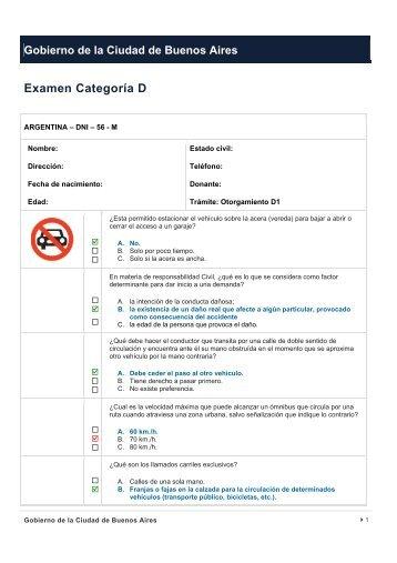 Examen Categoría D - Buenos Aires Ciudad