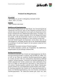 Protokoll und Präsentation des Bürgerforums ... - Zukunft Erkrath