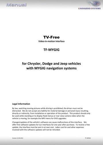 TF-MYGIG for Chrysler, Dodge and Jeep vehicles ... - vag navisystems