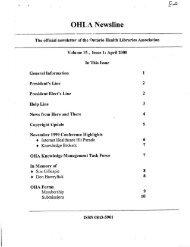 E2.15 NEWSLINE V15 1-3 2000 - Ontario Health Libraries Association