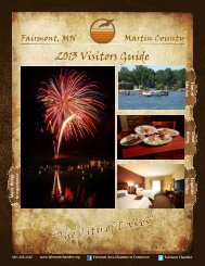 """2013 Visitors Guide """"The City of Lakes"""" - Fairmont, Minnesota"""