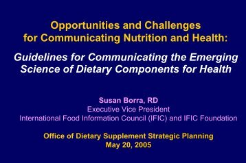 IFIC Foundation - Office of Dietary Supplements