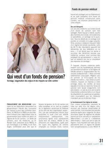 Qui veut d'un fonds de pension médical? - Santé inc.