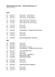 Turnierkalender 2012 Golfclub Bamberg auf Gut Leimershof e