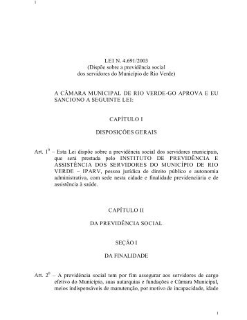 LEI N. 4.691/2003 (Dispõe sobre a previdência social dos ...