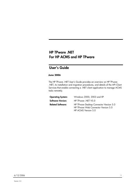 Download HP TPware  NET users guide [PDF] - OpenVMS Systems