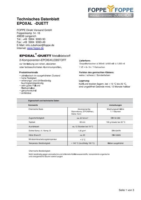 Techn Datenblatt Vorlage 1 Foppe