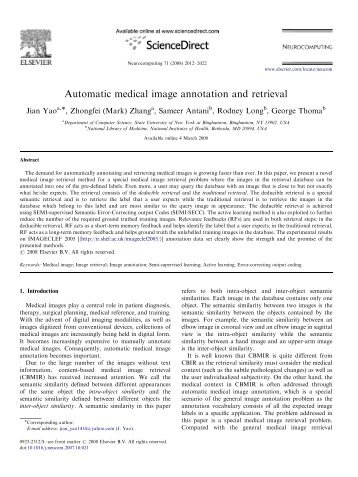 Automatic medical image annotation and retrieval - Communications ...